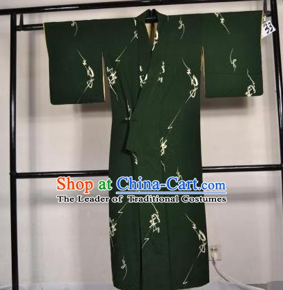 Japanese Traditional Male Kimono Clothing Atrovirens Haori Kimonos Yukata Robe for Men