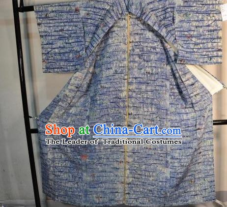 Japanese Traditional Male Blue Kimono Clothing Japan Samurai Haori Kimonos Yukata Robe for Men