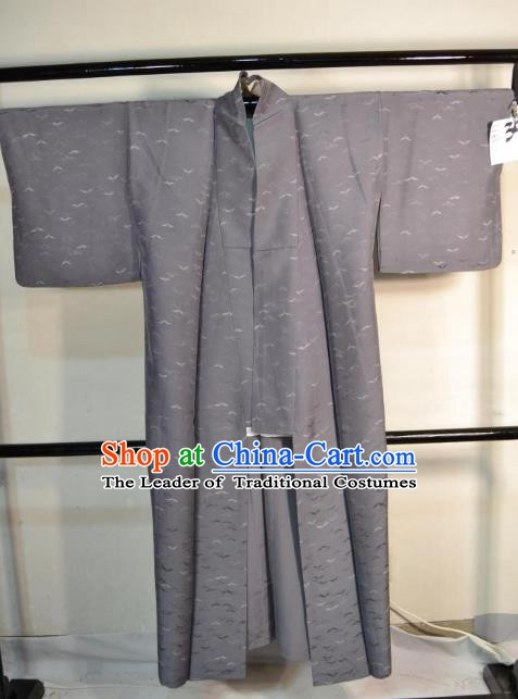 Japanese Traditional Male Grey Yukata Kimono Clothing Japan Samurai Haori Kimonos Robe for Men
