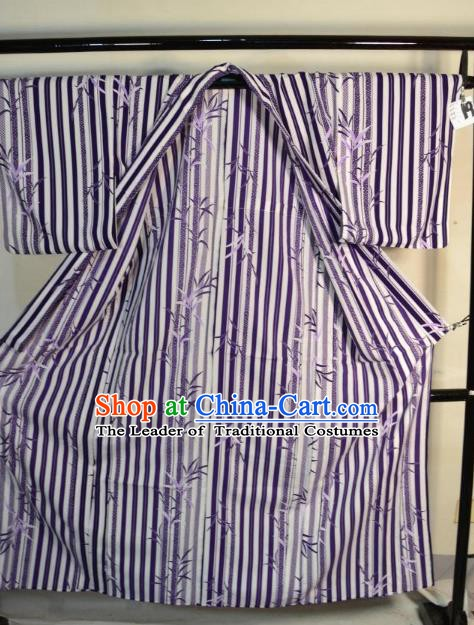 Japanese Traditional Male Purple Yukata Robe Clothing Japan Samurai Haori Kimonos for Men
