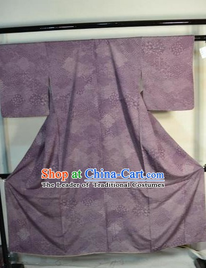 Japanese Traditional Yukata Robe Japan Samurai Purple Haori Kimonos Clothing for Men