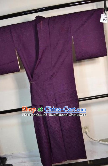 Japanese Traditional Deep Purple Yukata Robe Japan Samurai Haori Kimonos Clothing for Men