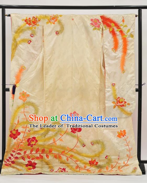 Traditional Japan Palace Vintage Costume White Furisode Kimono Japanese Yukata Dress for Women