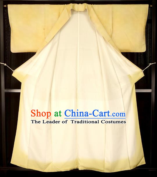 Traditional Japan Palace Yellow Furisode Kimono Costume Japanese Yukata Dress for Women