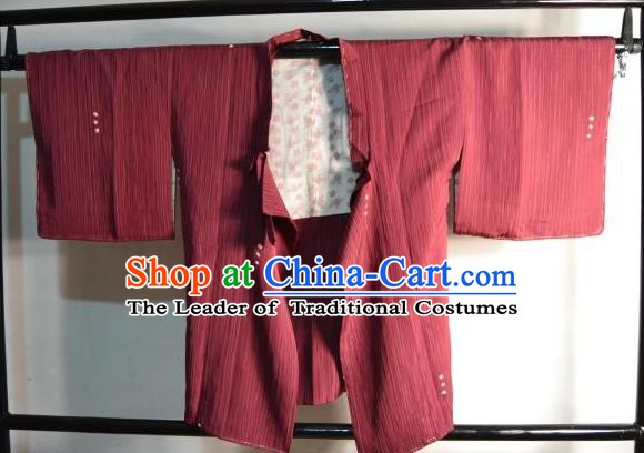 Japanese Traditional Kimono Upper Outer Garment Japan Red Haori Apparel Yukata Costume for Men