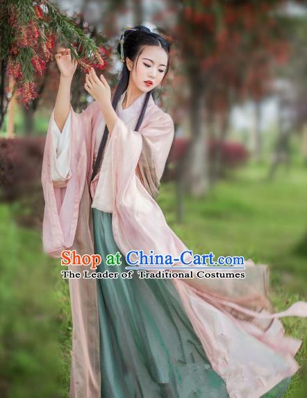 China Ancient Palace Lady Costume Jin Dynasty Princess Embroidered Dress for Women
