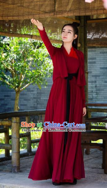 Chinese Ancient Swordswoman Costume Female Knight-Errant Hanfu Red Dress Clothing for Women