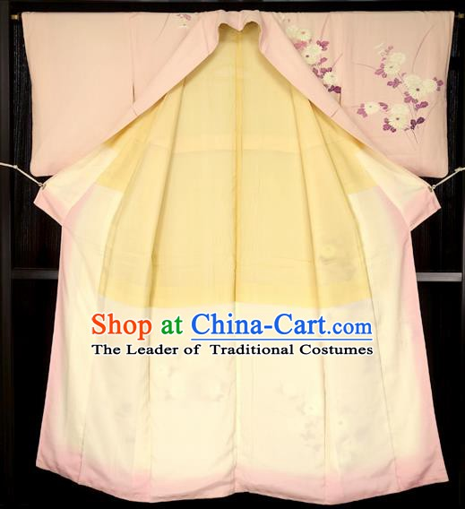 Japan Traditional Palace Iromuji Kimono Pink Furisode Kimonos Yukata Dress Formal Costume for Women