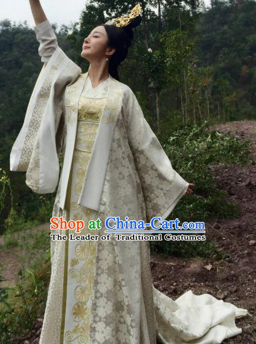 Chinese Ancient Southern and Northern Dynasties Imperial Empress Embroidered Costume for Women