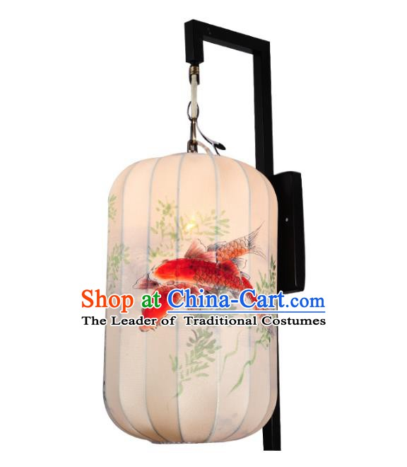 Handmade Traditional Chinese Lantern Wall Lamp Hand Painting Fish Lantern