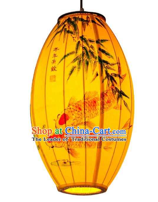 Traditional Chinese Ancient Palace Lantern Painting Bamboo Fish Ceiling Lanterns Hanging Lanern