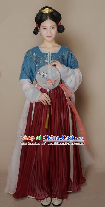 Chinese Traditional Tang Dynasty Palace Lady Costume Ancient Embroidered Hanfu Dress for Women