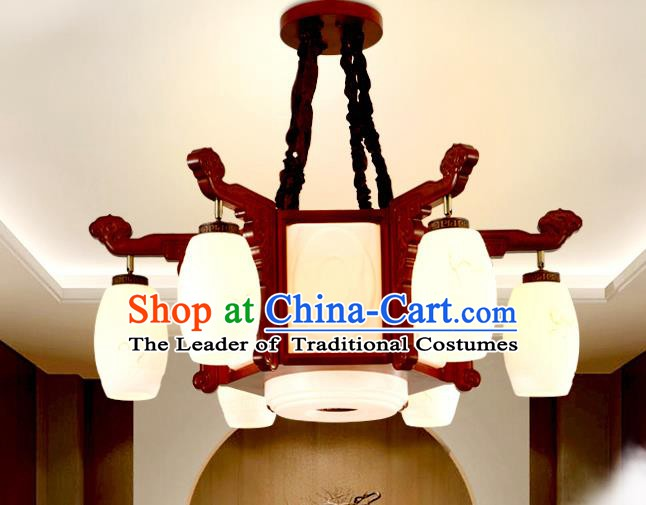 China Traditional Handmade Ancient Marble Lantern Palace Wood Hanging Lanterns Ceiling Lamp