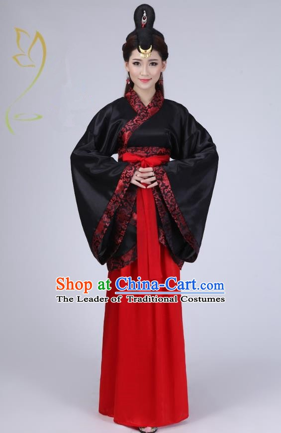 Ancient Chinese Han Dynasty Historical Costume Princess Embroidered Hanfu Dress for Women