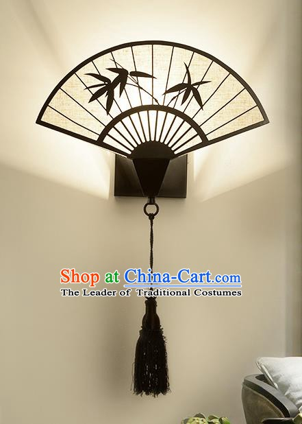 Traditional Asian China Style Fan Lanterns Chinese Ancient Bamboo Wall Lamp Palace Lantern