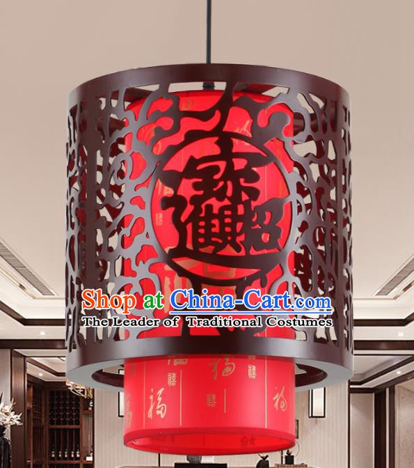 Asian China Handmade Red Parchment Lantern Traditional Ancient Ceiling Lamp Hanging Palace Lanterns