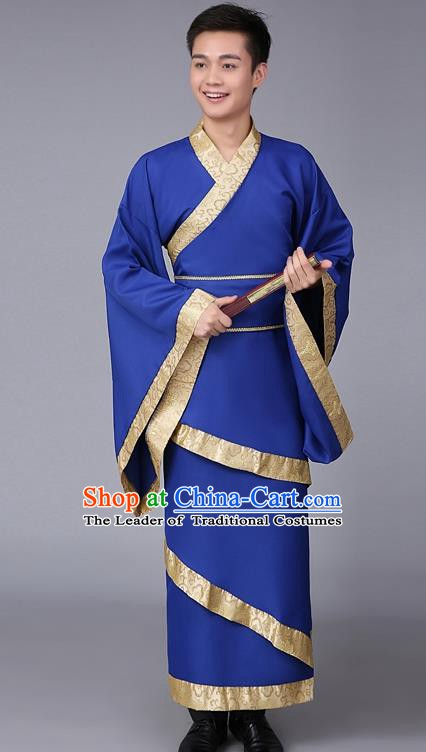 China Ancient Han Dynasty Scholar Costume Blue Curving-front Robe for Men