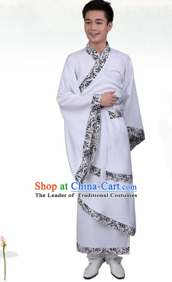 China Ancient Han Dynasty Scholar Costume White Curving-front Robe for Men