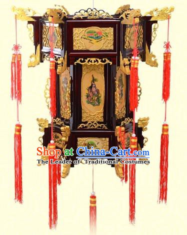 Chinese Handmade Eight immortals Golden Palace Lanterns Traditional New Year Hanging Lantern