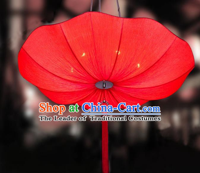 Chinese Classical Handmade Palace Lanterns Traditional Red Lotus Hanging Lantern Ancient Ceiling Lamp