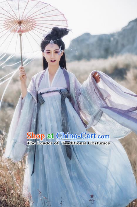 Ancient Chinese Female Immortals Costume Tang Dynasty Palace Lady Embroidered Dress for Women