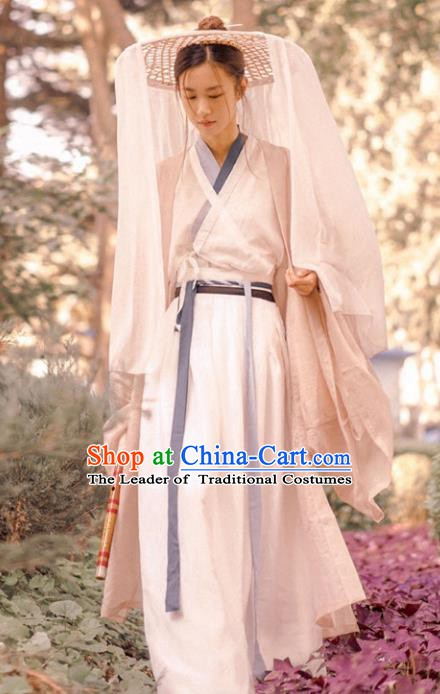 Ancient Chinese Jin Dynasty Young Lady Swordswoman Embroidered Costume for Women