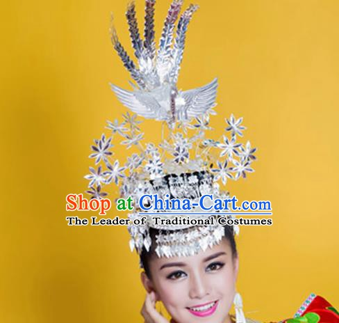 Traditional Chinese Miao Nationality Phoenix Hairpins Hair Accessories Sliver Headwear for Women