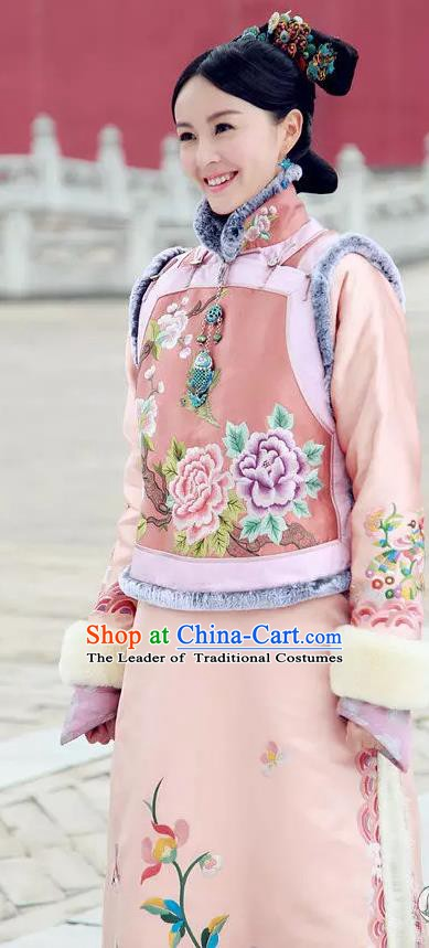 Ancient Chinese Qing Dynasty Manchu Qianlong Princess Embroidered Historical Dress Costume for Women