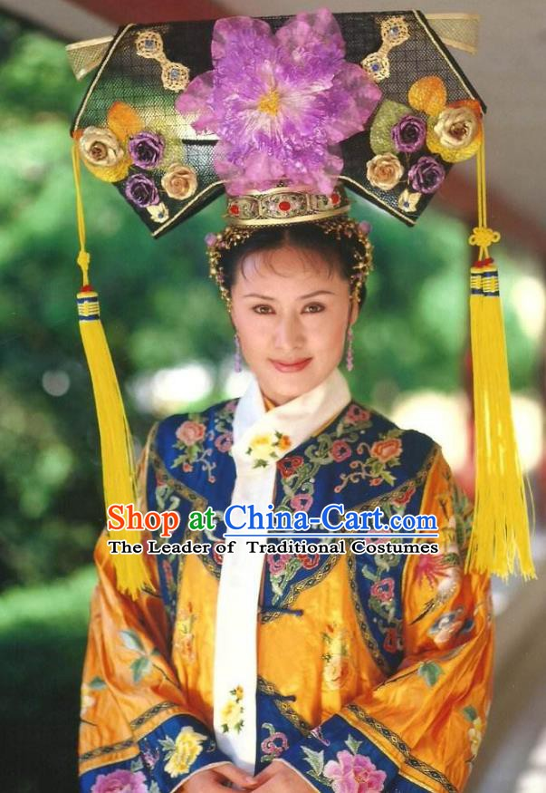 Ancient Chinese Qing Dynasty Manchu Empress Dowager Cixi Embroidered Historical Costume for Women