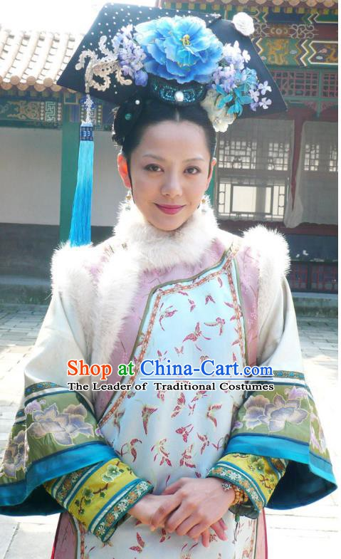 Ancient Chinese Qing Dynasty Manchu Yongzheng Consort Jing Embroidered Historical Costume for Women