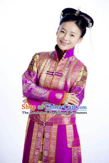 Chinese Ancient Qing Dynasty Manchu Yongzheng Empress Embroidered Historical Costume for Women