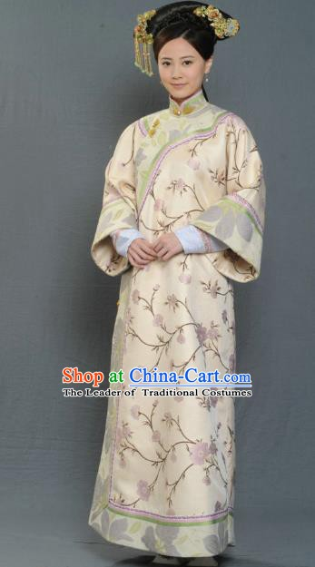 Chinese Ancient Qing Dynasty Jiaqing Imperial Consort Embroidered Manchu Dress Historical Costume for Women