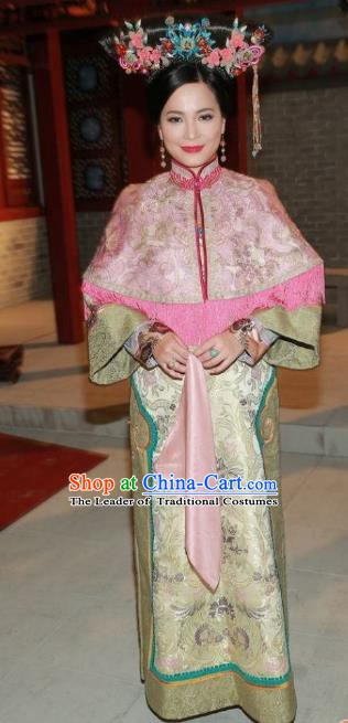 Chinese Ancient Qing Dynasty Imperial Concubine Embroidered Manchu Dress Historical Costume for Women