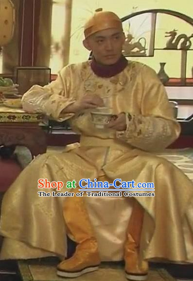 Chinese Qing Dynasty Emperor Guangxu Historical Costume Ancient Manchu Last King Clothing for Men
