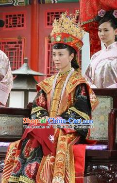 Chinese Qing Dynasty Empress of Xianfeng Historical Costume Ancient Manchu Lady Clothing for Women
