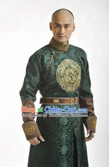 Chinese Qing Dynasty Thirteen Prince of Kangxi Yinxiang Historical Costume Ancient Manchu Nobility Childe Clothing for Men