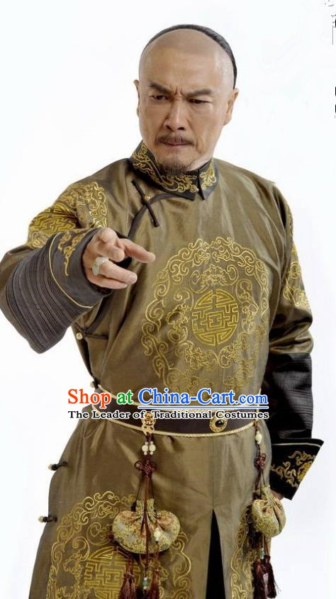 Chinese Qing Dynasty Emperor Kangxi Xuanye Historical Costume Ancient Manchu King Clothing for Men