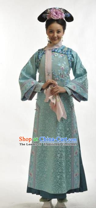 Chinese Qing Dynasty Princess Mingyu Historical Costume Ancient Manchu Palace Lady Clothing for Women