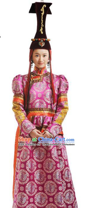 Chinese Qing Dynasty Mongolian Princess Historical Costume Ancient Nobility Lady Clothing for Women