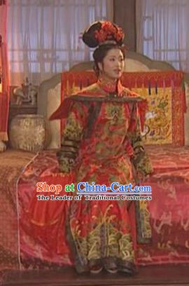 Chinese Ancient Qing Dynasty Empress of Kangxi Wedding Historical Costume Manchu Embroidered Dress for Women