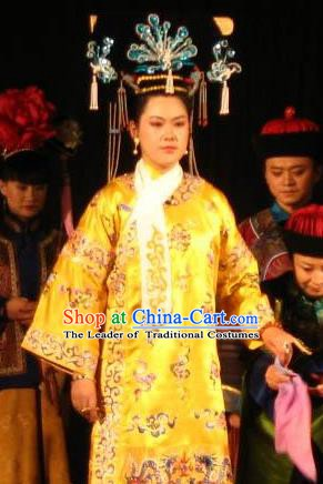 Chinese Ancient Qing Dynasty Historical Costume Empress of Guangxu Embroidered Dress for Women