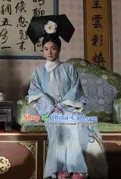 Chinese Ancient Qing Dynasty Manchu Historical Costume Queen Mother Ci An Embroidered Dress for Women