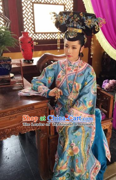Chinese Qing Dynasty Empress of Shunzhi Historical Costume Ancient Manchu Queen Mother Clothing for Women