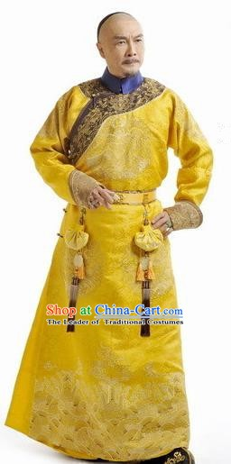 Chinese Qing Dynasty Emperor Kangxi Historical Costume Ancient Manchu Imperial Robe Clothing for Men