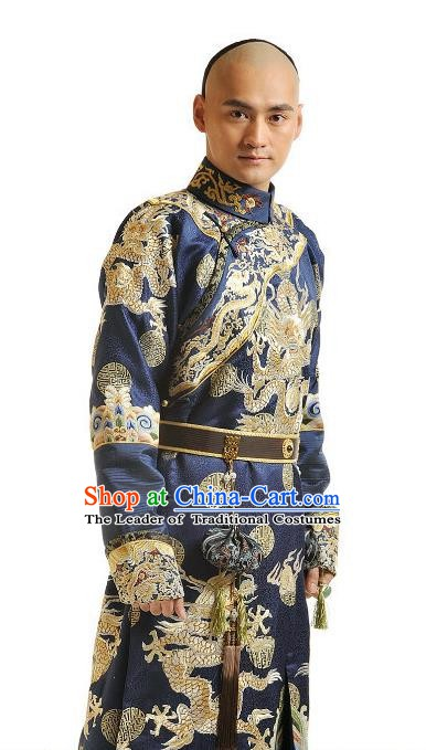 Chinese Qing Dynasty Thirteen Prince of Kangxi Historical Costume Ancient Manchu Prince Clothing for Men