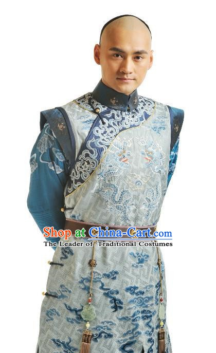 Chinese Qing Dynasty Thirteen Prince of Kangxi Historical Costume Ancient Manchu Royal Highness Clothing for Men