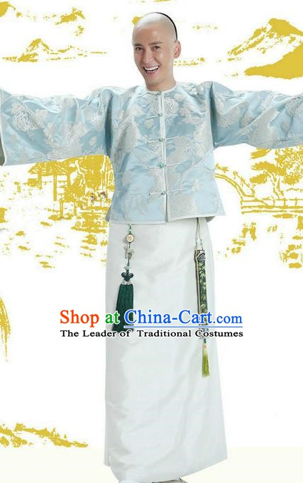 Chinese Qing Dynasty Duke Wei Xiaobao Historical Costume Ancient Manchu Royal Highness Clothing for Men