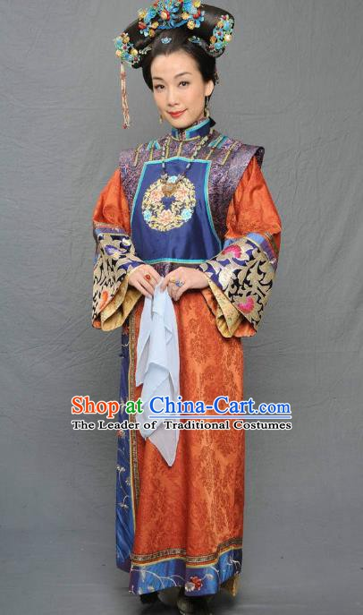 Chinese Qing Dynasty Manchu Queen Mother of Kangxi Historical Costume Ancient Palace Lady Clothing for Women
