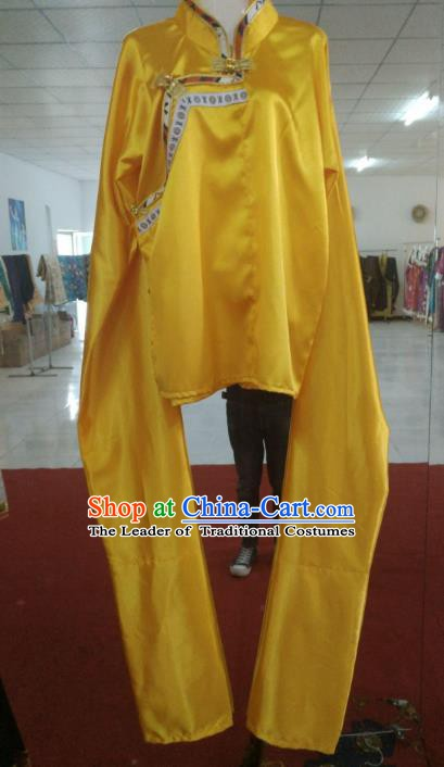 Chinese Tibetan Nationality Costume Water Sleeve Yellow Blouse, Traditional Zang Ethnic Minority Shirts Clothing for Women