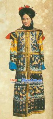 Chinese Ancient Qing Dynasty Empress Dowager Cixi Dress Historical Costume for Women
